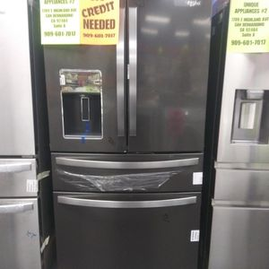 WHIRLPOOL BLACK STAINLESS STEEL 4 DOOR REFRIGERATOR🎈OPEN SUNDAY 9AM-6PM🎈💲100 OFF NOW💲🌟BUY NOW PAY LATER🌟❌NO CREDIT NEEDED❌ for Sale in Hesperia, CA