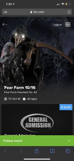 FEAR FARM TICKET 10/16 for Sale in Phoenix, AZ