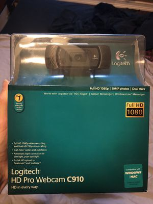 Logitech C910 HD 1080p Pro Webcam with Built In Microphone for Sale in Tampa, FL