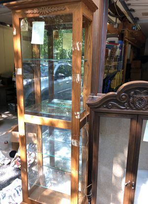 4 shelf glass curio cabinet for Sale in Upton, MA