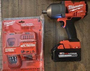 Milwaukee M18 fuel 2767-20 1/2 impact wrench 8.0 HO battery & Rapid Charger for Sale in Lincoln, RI