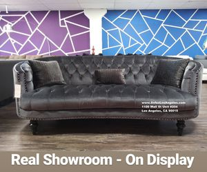 Visit Our Showroom 😁 We Finance - Dark Grey Glam Style Button Tufted Couch Sofa for Sale in Los Angeles, CA