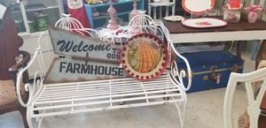 Shabby chic white garden bench for Sale in Hannibal, MO