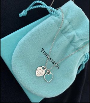 Return to Tiffany mini double heart tag pendant in sterling silver with enamel finish for Sale in North Bethesda, MD