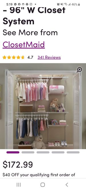 Wayfair Brand Closet Organizer for Sale in Riverdale, GA
