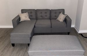 Brand New Light Grey Linen Sectional Sofa Couch + Ottoman for Sale in Kensington, MD