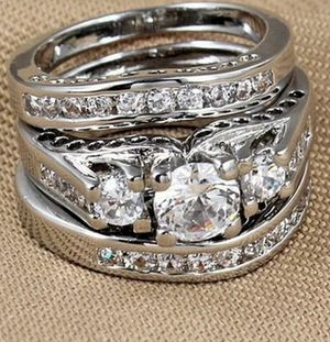 Brand new womens Stamped 925 Solid Sterling Silver genuine White Sapphire 3 PC Eternity Engagement ring & Wedding 3 RING TRIO SET Many Sizes for Sale in New Port Richey, FL