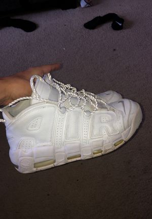 All white Nike uptempo for Sale in Morrisville, NC