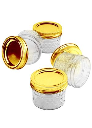 17 4-oz canning jars w/ gold lids for Sale in Covina, CA