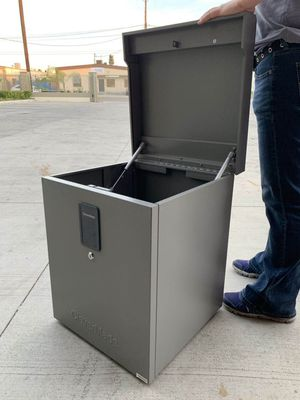 New in box 18x18x22 inch tall parcel package safe storage locker with digital security digital lock or key safe tool box for Sale in Los Angeles, CA
