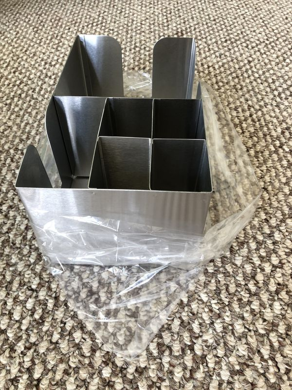 NEW!!! Absolut Stainless Steel Napkin and Straw Bar Caddy Holder. Perfect for bar or organization.