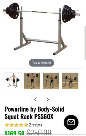 Powerline Squat rack w/ weights & bar for Sale in Oceano, CA