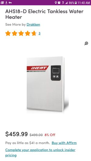 IHeat Electric Tankless Water Heater for Sale in Dartmouth, MA
