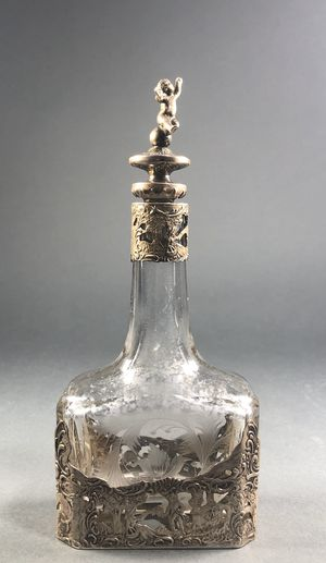 Hanau 800 Silver Etched Glass Decanter Cologne Bottle Putti Stopper Antique for Sale in Miami, FL