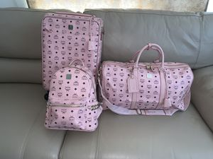 MCM Pink luggage set Rolling Suitcase, Duffel bag, and backpack for Sale in Suitland, MD