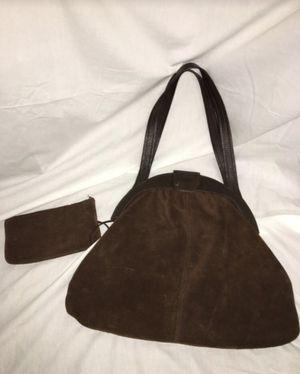 Vintage Retro 70's Brown Suede Purse Handbag w/ attached wallet/coin purse for Sale in El Mirage, AZ