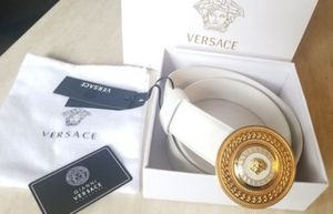NWT Versace white leather gold round medallion buckle size 90/36 fits 28-32 waist Gucci belt for Sale in Windsor, CT