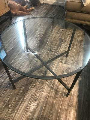 Round, glass coffee table for Sale in Washington, DC