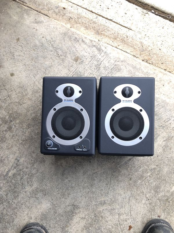 M audio speakers with base