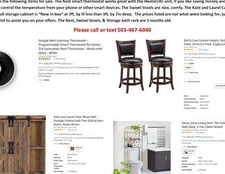 NIB Rustic Cabinet, Bar Stools, Bath Storage Rack for Sale in Portland,  OR
