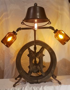 Antique Industrial Wooden Pulley Lamp for Sale in Tacoma, WA