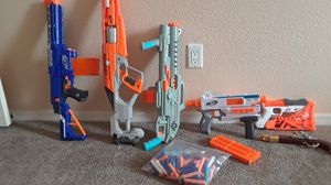 Six Nerf Guns with bag of darts for Sale in LOS RNCHS ABQ, NM