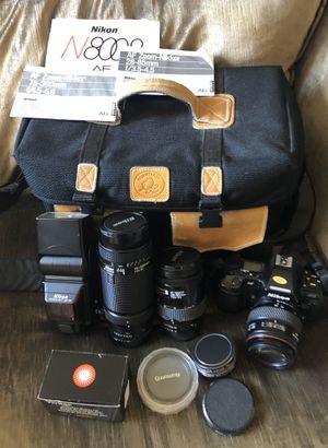 Nikon AF N8008 Film Camera w/ 3 lenses + extras for Sale in Milpitas, CA