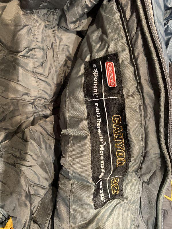 Coleman thermolite sleeping bag and stuff sack