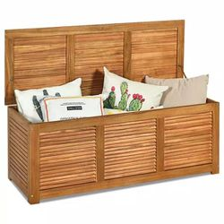 47 Gal. Acacia Wood Deck Storage Bench Box for Sale in Whittier,  CA