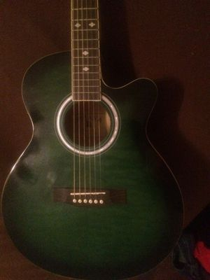 Indiana Green acoustic electric guitar with Case for Sale in Alexandria, LA