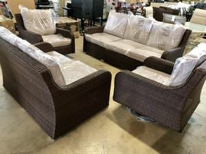 Liva Springs Tropical All-Wicker Outdoor Patio Seating Set with Beige Cushions for Sale in Dallas, TX