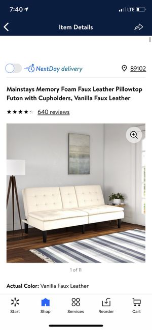 Mainstays Memory Foam Faux Leather Pillowtop Futon with Cupholders, Vanilla Faux Leather for Sale in Las Vegas, NV