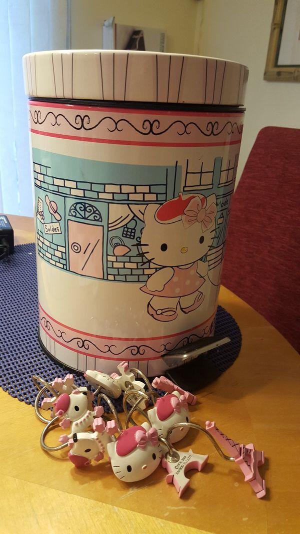 Hello Kitty trash can &shower hooks