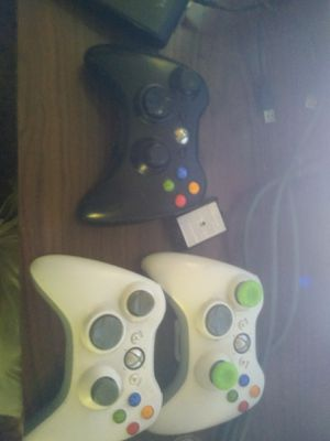 3 Xbox 360 controllers + Hard Drive + Games + Cables + wifi for Sale in Ontario, OH