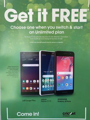 Free Cricket Wireless Phone for Sale in Haltom City, TX