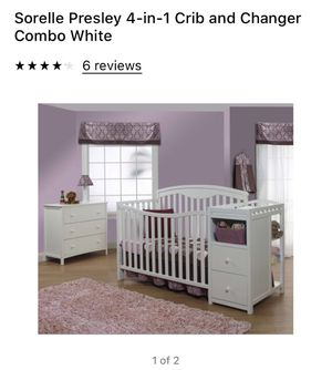 Sorelle Presley 4-in-1 Crib & Changing Table Combo w/ Seally Cozy Rest Crib Matress & Changing Pad for Sale in Pittsburgh, PA