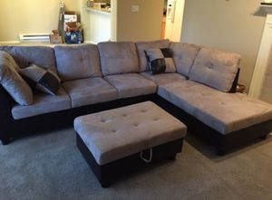 New tan microfiber sectional couch with storage ottoman for Sale in Renton, WA