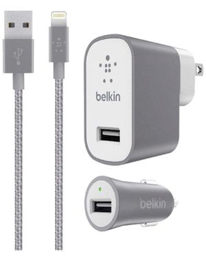 GRAY BELKIN Metallic Mixit -12W 2.4Amp Fast - Home & Car Charger Kit - (Retail Packing) for iOS iPhone 8/+/X iPad Pro (Gray) for Sale in Los Angeles, CA
