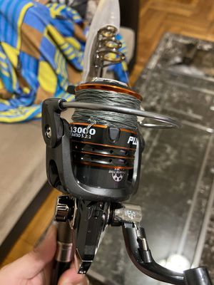 Plussino telescopic 8.86 ft fishing rod reel with 30 pound braid line for Sale in Brooklyn, NY