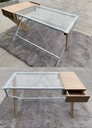 New Home Office Computer Desk Clear Glass Top Desk with Drawer 48x24x30 inches for Sale in Whittier, CA