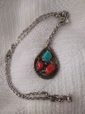 L.Lasiloo Silver, turquoise, red coral pendant and necklace for Sale in Avondale, AZ