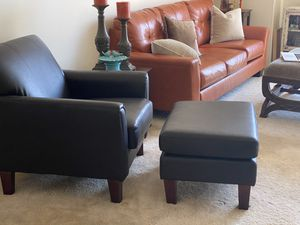 Black Friday Deal— Faux Leather Chair & Ottoman for Sale in San Diego, CA