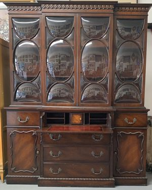 Antique Mahogany China Cabinet / Bevel Dome Glass Doors / Desk for Sale in Pembroke Pines, FL