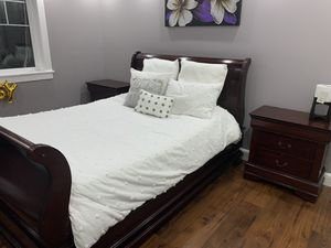 Queen bed with nightstands and mattress for Sale in Marysville, WA