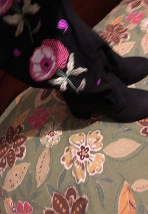 Black suede thigh high boots with floral pattern on the side of the boot. Size 10 for Sale in Arlington, TX