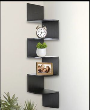 5 Tier Wall Mount Corner Shelves Espresso Finish Shelving Storage Decor for Sale in Frisco, TX