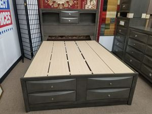 No credit needed no interest payment plan cherry grey black queen size 5 piece complete bedroom set for Sale in Takoma Park, MD