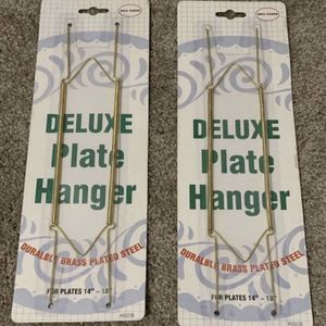 Set of 2 Deluxe Durable Brass Plate Plated Steel Hanger Home Kitchen Dish Art Decoration Accent for Sale in Chapel Hill, NC