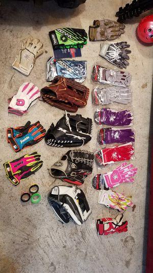 Softball baseball gloves and batting gloves for Sale in Seaside Park, NJ