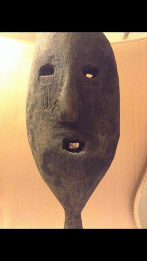 Real Tribal Mask Handmade by a Tribe in Timor, Indonesia-- Imperfect Mask Representing Sadness! for Sale in Herndon, VA